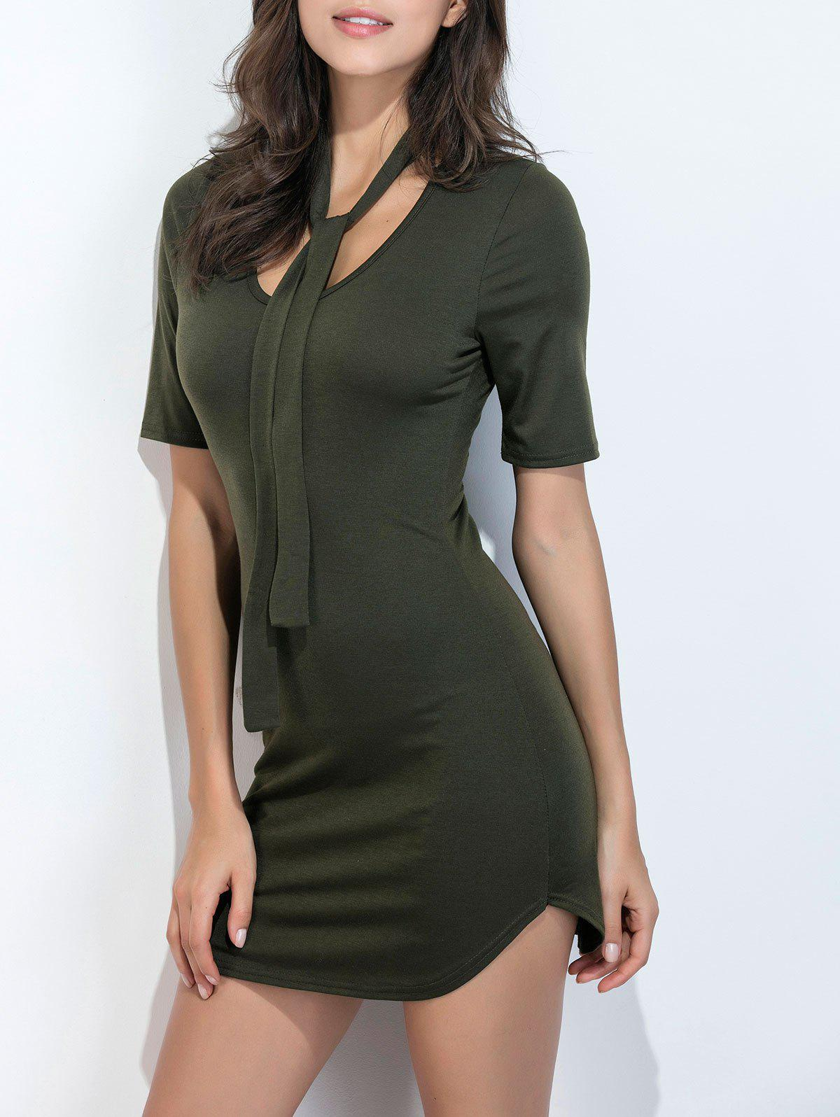 Short Sleeve Curved Hem Dress - ARMY GREEN XL