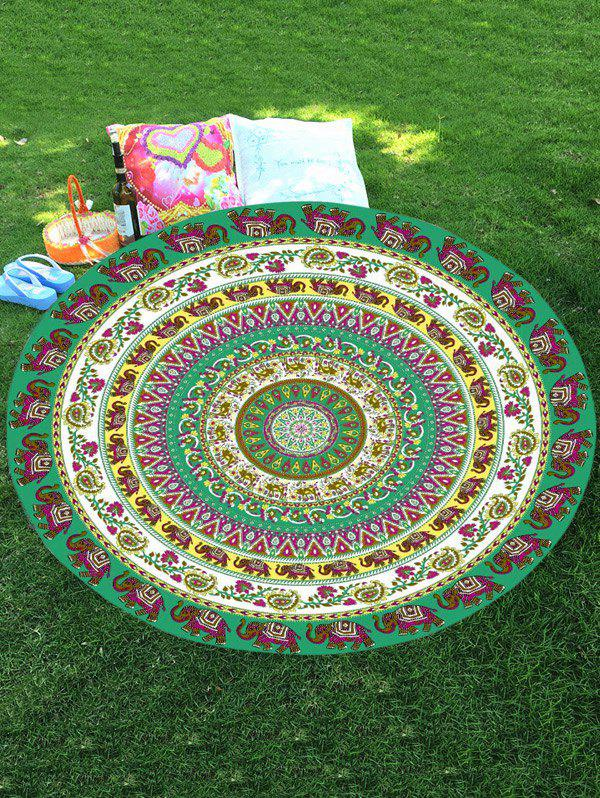 Thailand Elephant Print Mandala Round Chiffon Beach Throw - COLORMIX