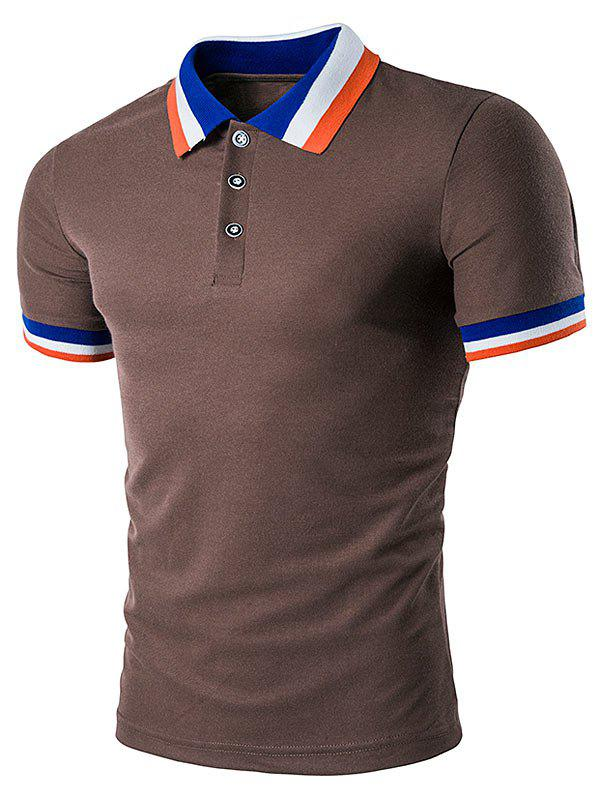 Color Block Turndown Collar Polo T-Shirt - COFFEE XL