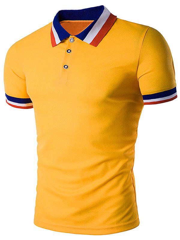 Color Block Turndown Collar Polo T-Shirt - YELLOW XL