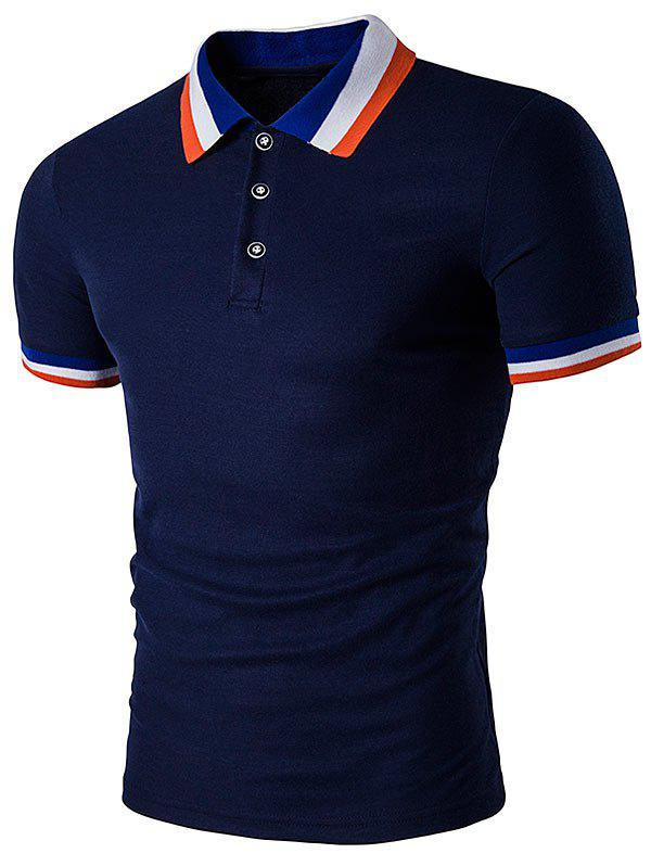 Color Block Turndown Collar Polo T-Shirt - CADETBLUE M
