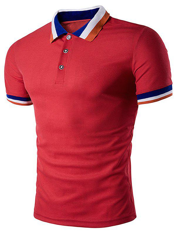 Color Block Turndown Collar Polo T-Shirt - RED S