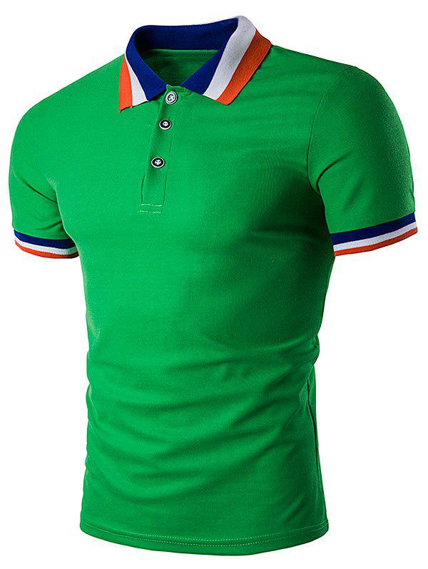 Color Block Turndown Collar Polo T-Shirt - GREEN S