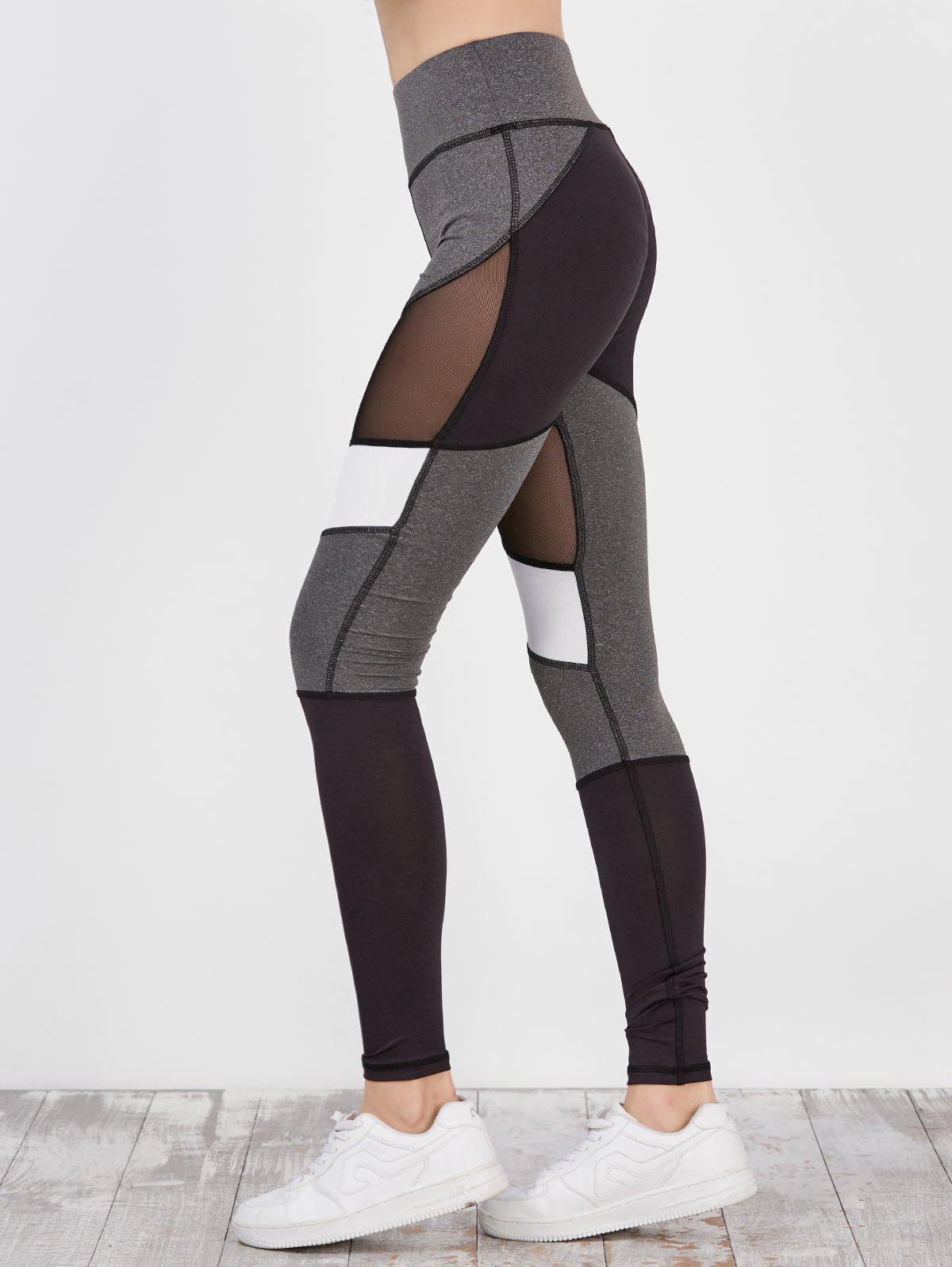 Colorblock Mesh Panel Workout Leggings - multicolor L