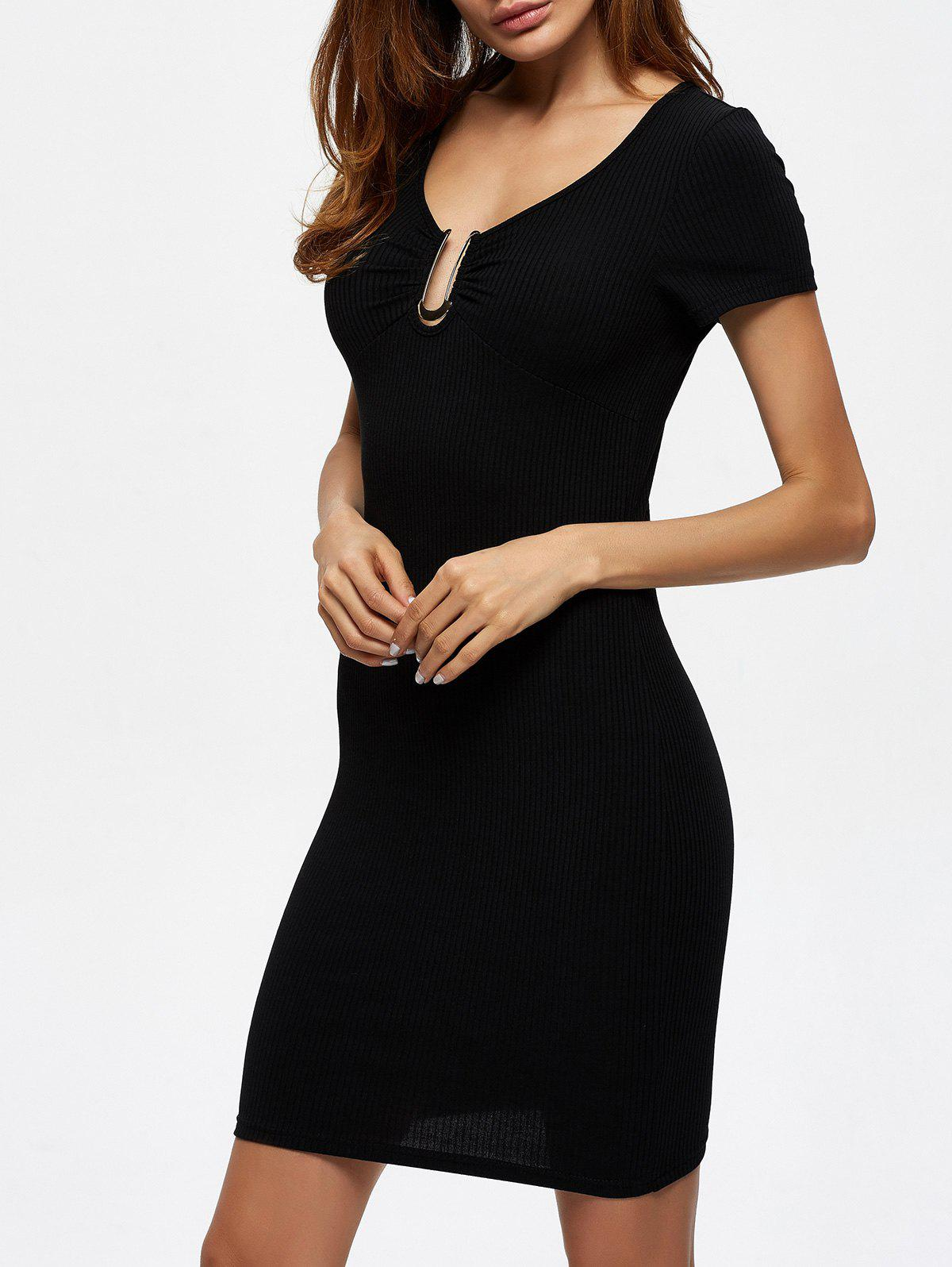 Ruched Ribbed Knit Bodycon Dress with Metal bar iii new women s small s black ponte knit lace trim ribbed bodycon dress $79