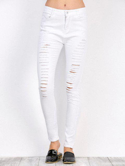 High Waist Stretchy Distressed Pants - WHITE 2XL