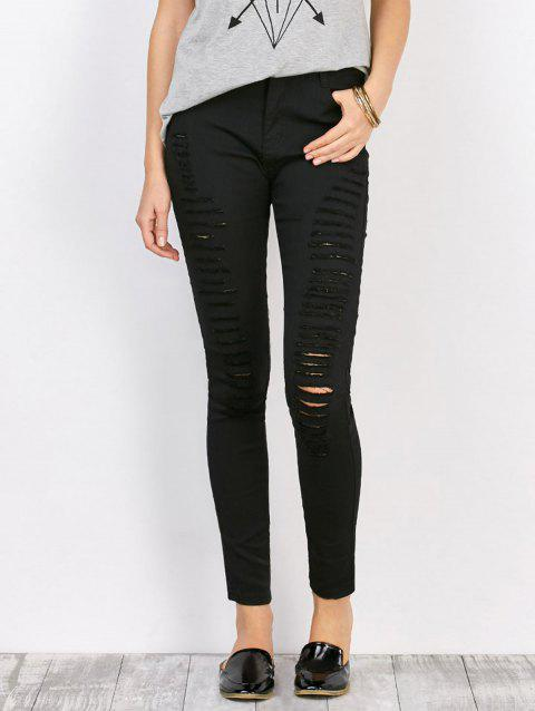 High Waist Stretchy Distressed Pants - BLACK M