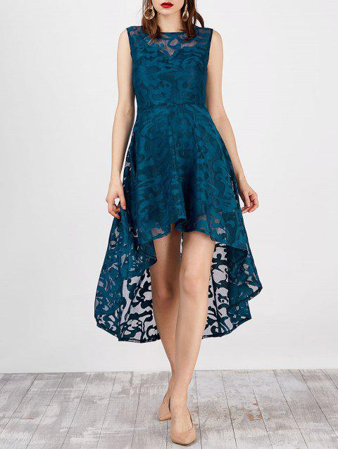 Lace High Low Swing Evening Party Dress - PANTONE TURQUOISE L