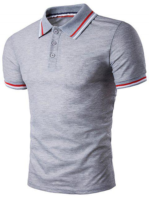 Striped Sleeve Collar Polo T-Shirt - LIGHT GRAY L