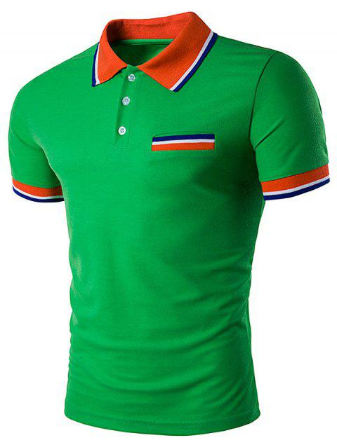 Striped Polo T-Shirt with Fake Pocket - GREEN M