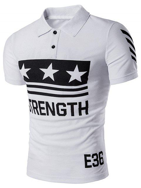 Star Strength Printed Polo T-Shirt - WHITE L