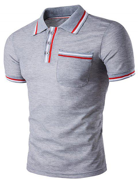 Striped Pocket Embellished Polo T-Shirt - LIGHT GRAY L
