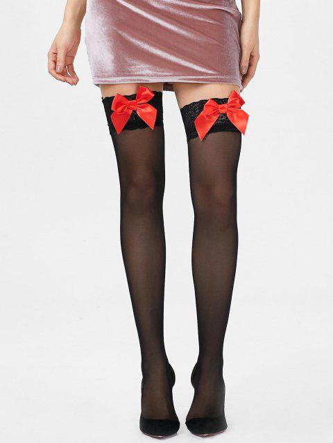 Lace Insert Overknee Tights - BLACK ONE SIZE