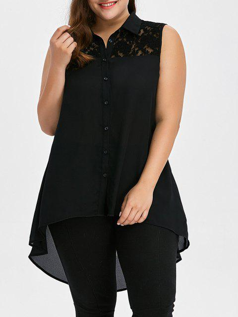 Plus Size Lace Insert High Low Top - BLACK XL