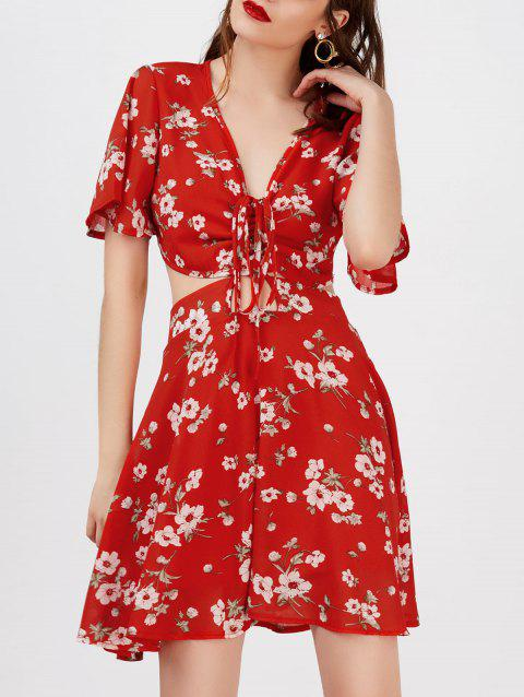Plunging Floral Print Cutout Beach Dress - RED S