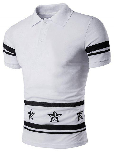 Star Number Printed Polo T-Shirt - WHITE M