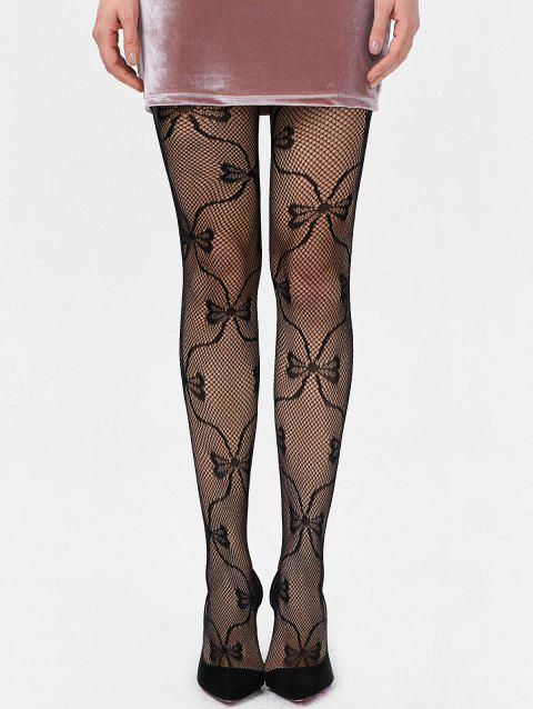 Bowknot Graphic Fishnet Tights - BLACK ONE SIZE