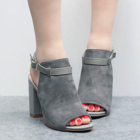 Slingback Peep Toe Sandals - GRAY 37