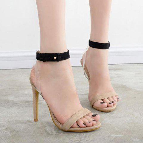 Ankle Strap Transparent Plastic Sandals - APRICOT 37