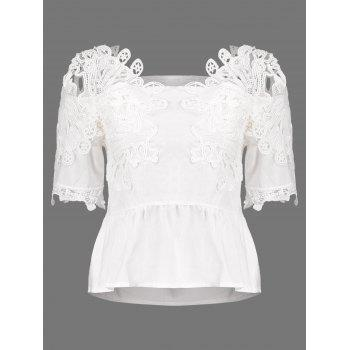 Lace Crochet Ruched Blouse