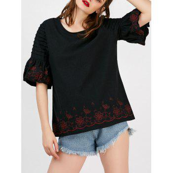 Puff Sleeve Floral Embroidered Blouse