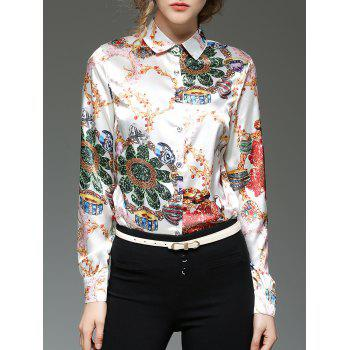 Satin Button Up Ornate Print Shirt