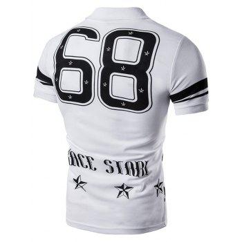 Star Number Printed Polo T-Shirt - WHITE 2XL