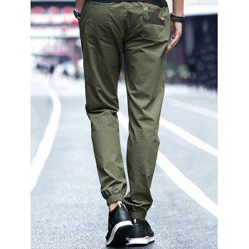 Camouflage Panel Drawstring Pants - ARMY GREEN 3XL