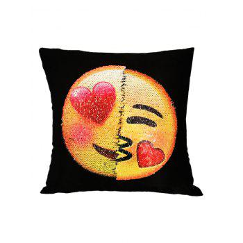 Heart Eyes Emoji Sequin Reverisble Decorative Pillow Case