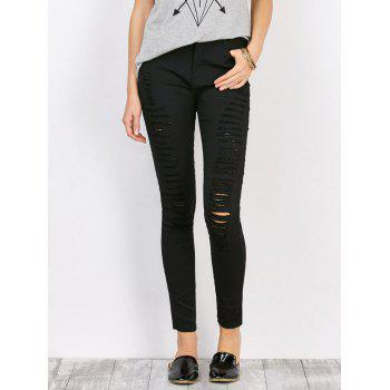High Waist Stretchy Distressed Pants