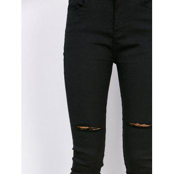 Distressed High Waisted Jeans - BLACK M