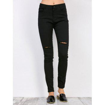 Distressed High Waisted Jeans - BLACK BLACK