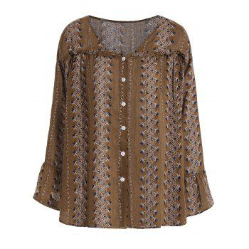 V Neck Print Plus Size Blouse