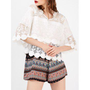 Mesh Scalloped Floral Crochet Blouse