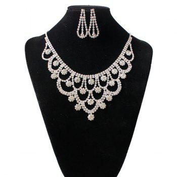 Flowers Shape Rhinestone Hollow Out Jewelry Set