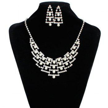 Faux Pearl Wedding Rhinestone Jewelry Set