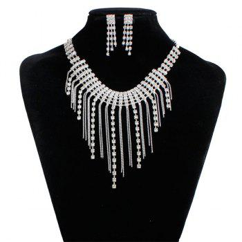 Rhinestone Fringed Necklace and Earrings