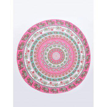 Thailand Elephant Round Shaped Chiffon Mandala Beach Throw -  COLORMIX