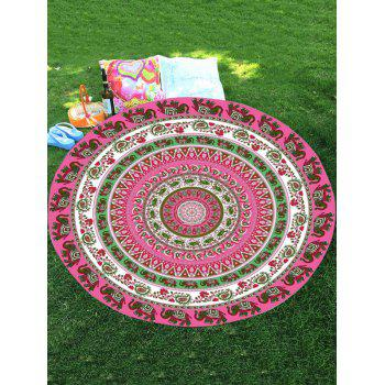 Thailand Elephant Round Shaped Chiffon Mandala Beach Throw