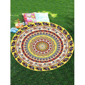 Thailand Elephant Mandala Chiffon Round Shape Beach Throw