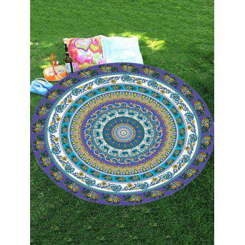 Elephant Mandala Round Shaped Chiffon Beach Throw
