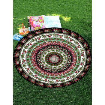 Thailand Celebration Elephant Mandala Round Shaped Beach Throw