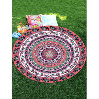 Chiffon Thailand Elephant Mandala Round Beach Throw
