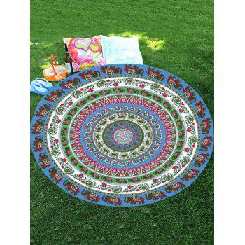Thailand Elephant Print Mandala Round Shaped Beach Throw