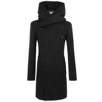 Longline Hooded Double Breasted Woolen Coat