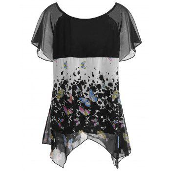 Butterfly Print Chiffon Plus Size Top - BLACK 3XL