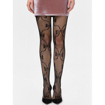 Bowknot Graphic Fishnet Tights