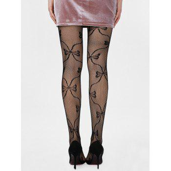 Bowknot Graphic Fishnet Tights - ONE SIZE ONE SIZE