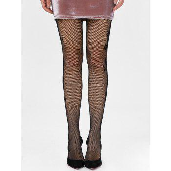 Side Floral Graphic Fishnet Tights