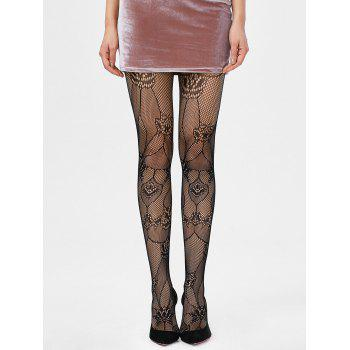 Openwork Elastic Sheer Tights - BLACK ONE SIZE